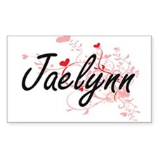 Jaelynn Artistic Name Design with Hearts Decal