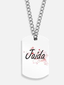 Jaida Artistic Name Design with Hearts Dog Tags