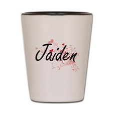 Jaiden Artistic Name Design with Hearts Shot Glass