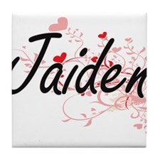Jaiden Artistic Name Design with Hear Tile Coaster