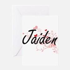 Jaiden Artistic Name Design with He Greeting Cards