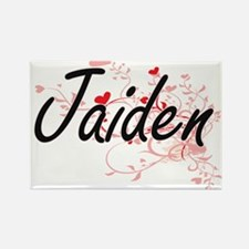 Jaiden Artistic Name Design with Hearts Magnets