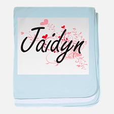 Jaidyn Artistic Name Design with Hear baby blanket