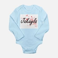 Jakayla Artistic Name Design with Hearts Body Suit