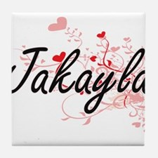 Jakayla Artistic Name Design with Hea Tile Coaster