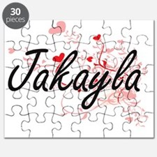 Jakayla Artistic Name Design with Hearts Puzzle