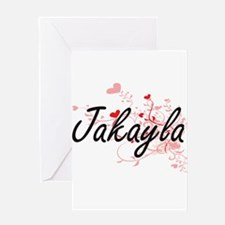 Jakayla Artistic Name Design with H Greeting Cards