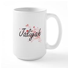 Jaliyah Artistic Name Design with Hearts Mugs