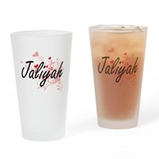 Jaliyah Artistic Name Design with H Drinking Glass
