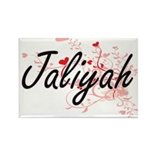 Jaliyah Artistic Name Design with Hearts Magnets