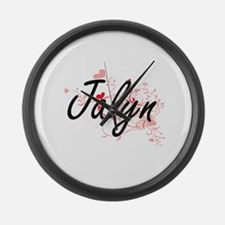 Jalyn Artistic Name Design with H Large Wall Clock