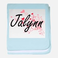 Jalynn Artistic Name Design with Hear baby blanket