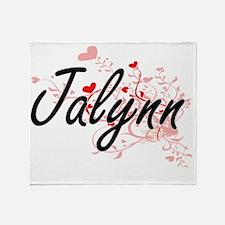 Jalynn Artistic Name Design with Hea Throw Blanket