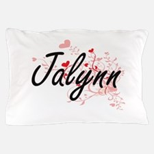 Jalynn Artistic Name Design with Heart Pillow Case
