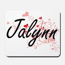 Jalynn Artistic Name Design with Hearts Mousepad