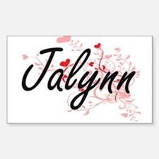 Jalynn Artistic Name Design with Hearts Decal