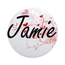 Jamie Artistic Name Design with H Ornament (Round)