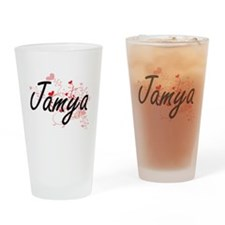 Jamya Artistic Name Design with Hea Drinking Glass