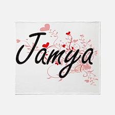 Jamya Artistic Name Design with Hear Throw Blanket