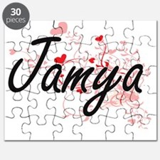 Jamya Artistic Name Design with Hearts Puzzle