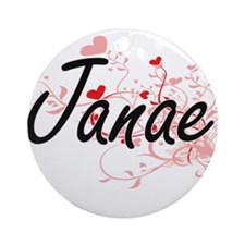 Janae Artistic Name Design with H Ornament (Round)