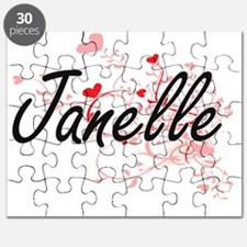 Janelle Artistic Name Design with Hearts Puzzle