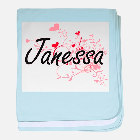 Janessa Artistic Name Design with Hea baby blanket