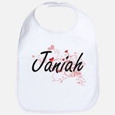 Janiah Artistic Name Design with Hearts Bib