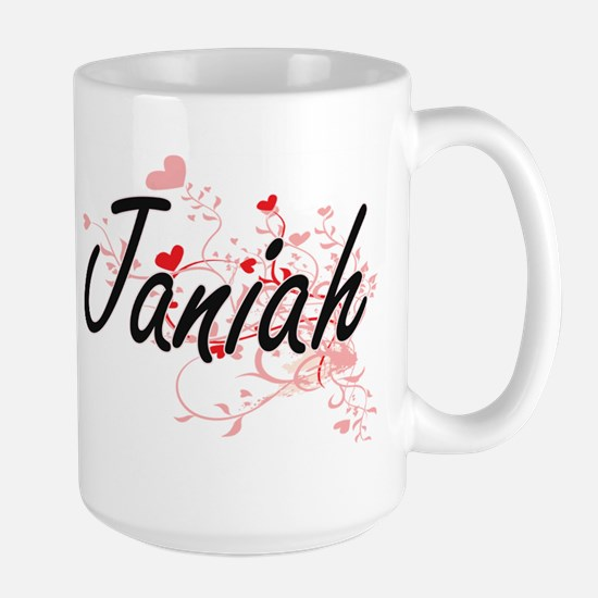 Janiah Artistic Name Design with Hearts Mugs