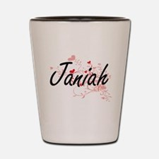 Janiah Artistic Name Design with Hearts Shot Glass