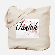 Janiah Artistic Name Design with Hearts Tote Bag