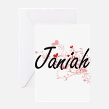 Janiah Artistic Name Design with He Greeting Cards