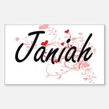 Janiah Artistic Name Design with Hearts Decal