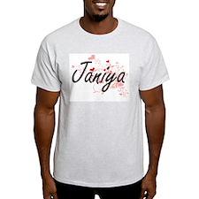 Janiya Artistic Name Design with Hearts T-Shirt