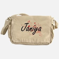 Janiya Artistic Name Design with Hea Messenger Bag
