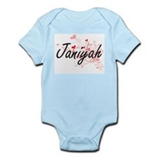 Janiyah Artistic Name Design with Hearts Body Suit