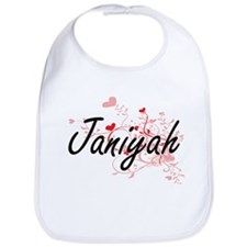 Janiyah Artistic Name Design with Hearts Bib
