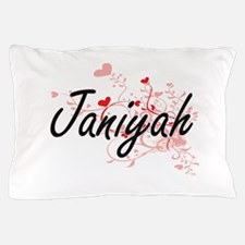 Janiyah Artistic Name Design with Hear Pillow Case