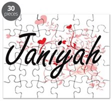 Janiyah Artistic Name Design with Hearts Puzzle