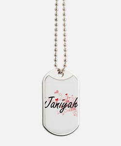Janiyah Artistic Name Design with Hearts Dog Tags