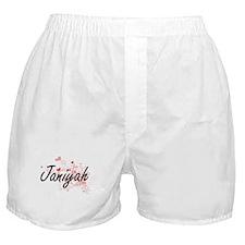 Janiyah Artistic Name Design with Hea Boxer Shorts