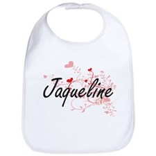 Jaqueline Artistic Name Design with Hearts Bib
