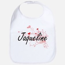 Jaqueline Artistic Name Design with Hearts Bib
