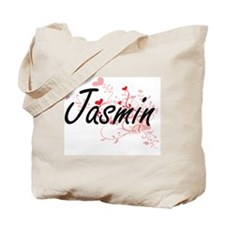 Jasmin Artistic Name Design with Hearts Tote Bag