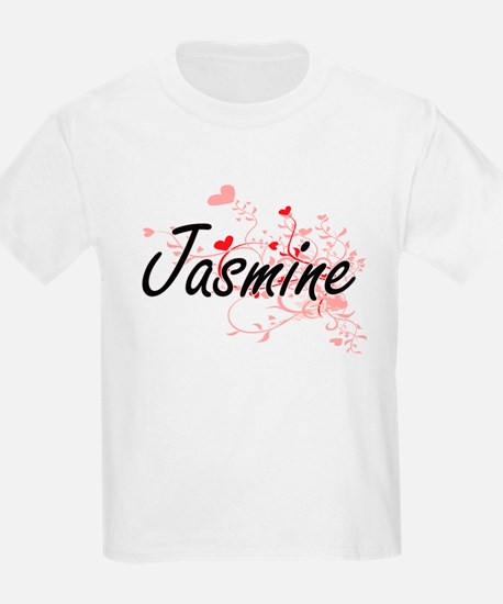 Jasmine Artistic Name Design with Hearts T-Shirt