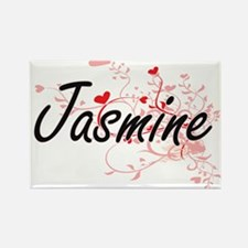 Jasmine Artistic Name Design with Hearts Magnets