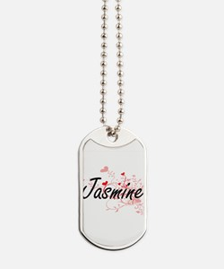 Jasmine Artistic Name Design with Hearts Dog Tags