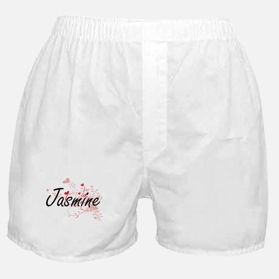 Jasmine Artistic Name Design with Hea Boxer Shorts