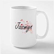 Jasmyn Artistic Name Design with Hearts Mugs