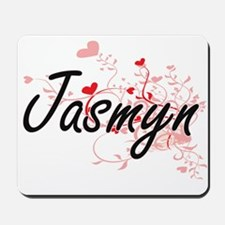 Jasmyn Artistic Name Design with Hearts Mousepad